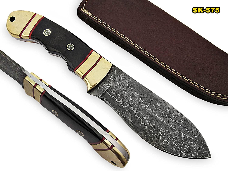 SK-575, Custom Handmade Damascus Steel Skinner Knife - Beautiful Buffelo Horn Handle with Brass Bolster/Pommel