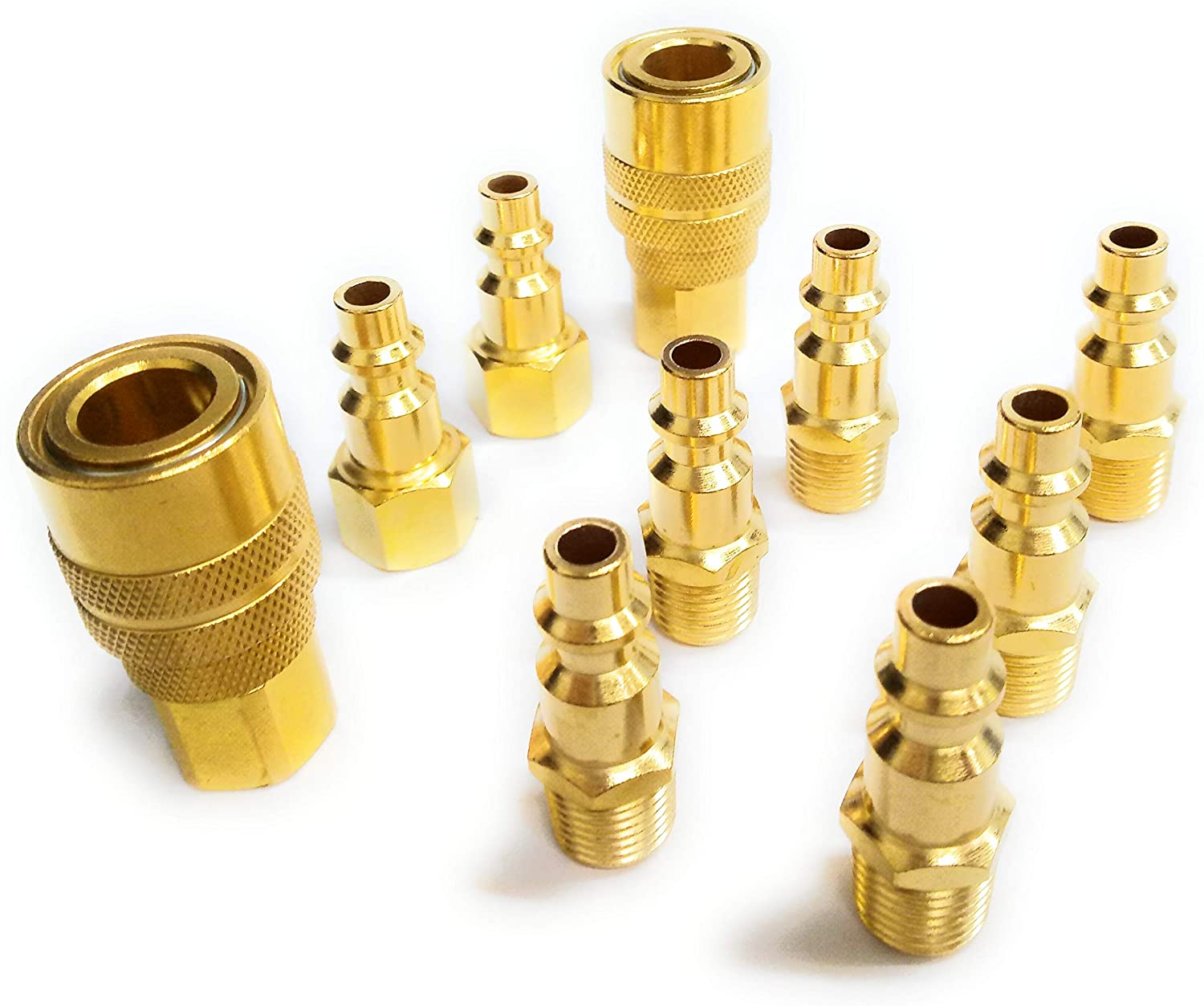 1/4-Inch Brass Industrial Coupler Kit, 10 Pieces, NPT Type D, Quick Connect Air Coupler Fittings