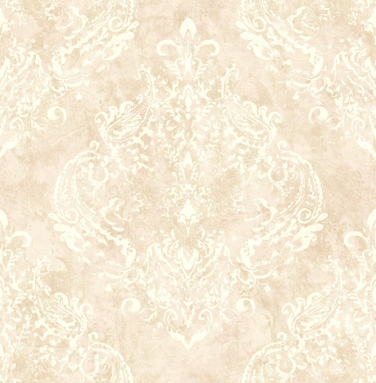 Victorian Damask Cream Wallpaper with Pale Purple Lilac Arts and Crafts Style