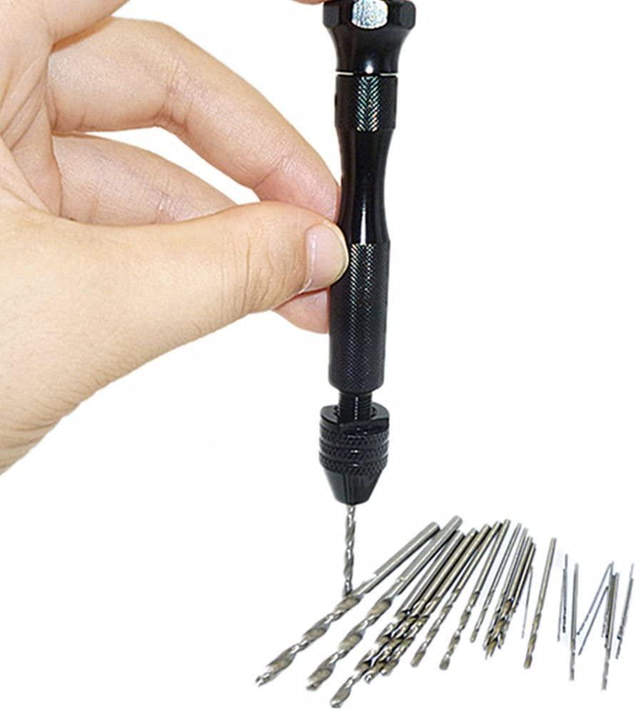 20 Pcs Mini Micro Twist Drill Bits  0.3mm-1.6mm w/ Aluminum Hand Drill Keyless Chuck