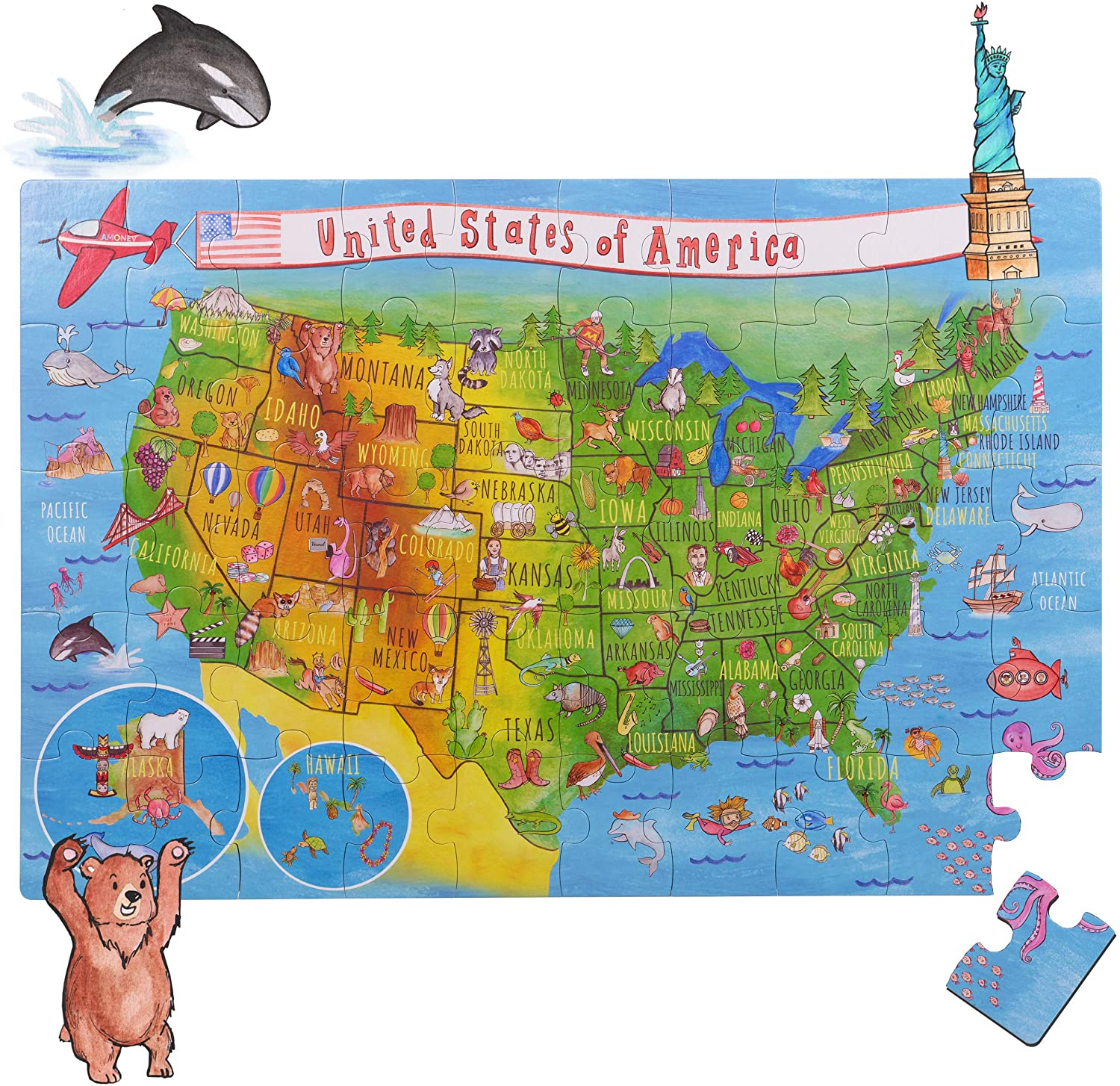 World Map Big Floor Puzzle with Thick Jigsaw Puzzle Pieces which can Also be Used on a Table are Great Floor Puzzles for Kids Ages 4-8 Years and Older (World Map Puzzle) (USA Puzzle)