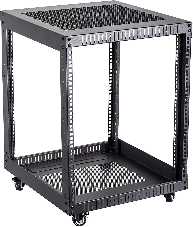 Kenuco 12U Standing Open Frame Rack with 4 Wheels and 4 Legs - Steel Network Equipment Rack 17.75 Inch Deep