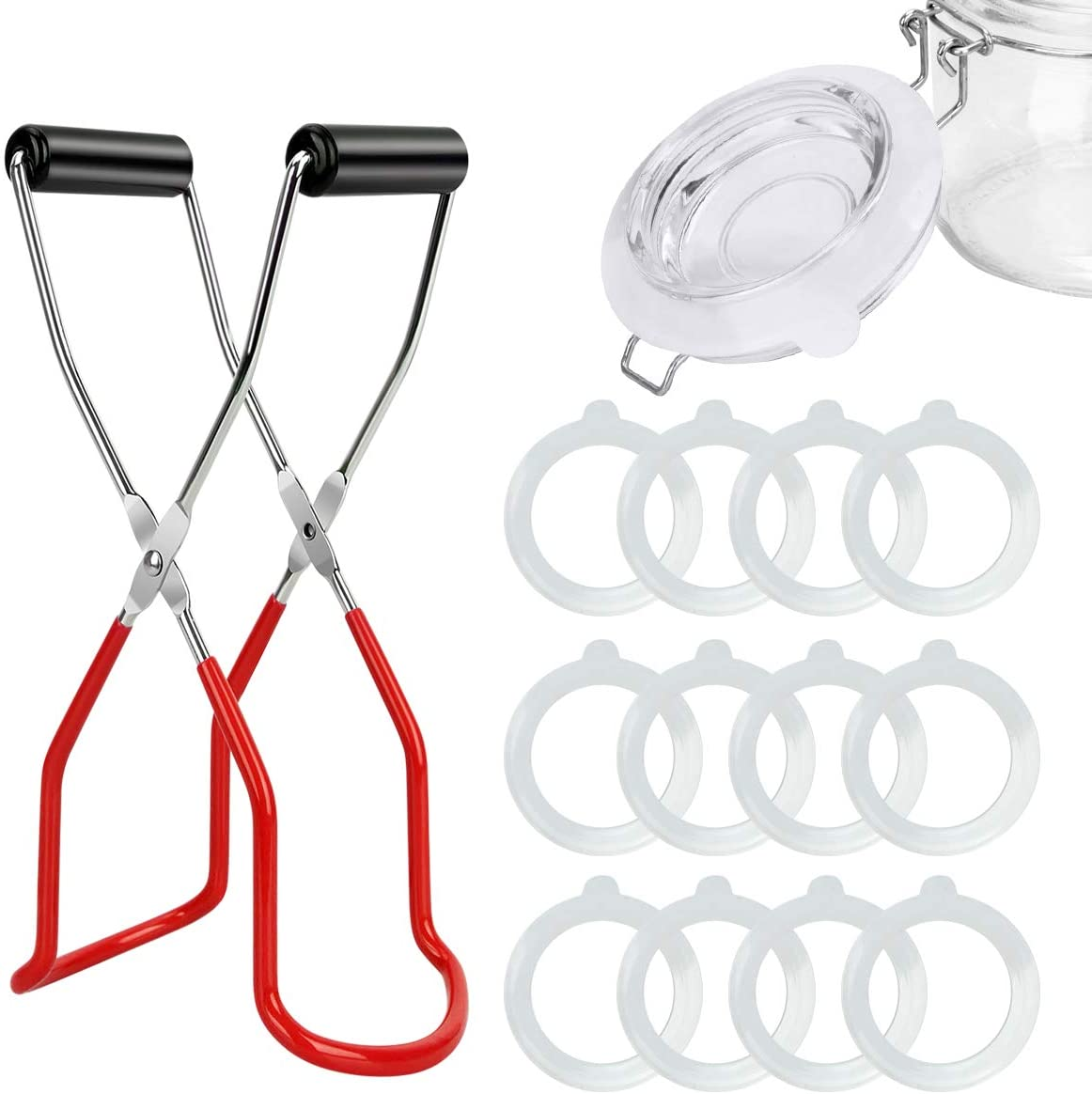 Canning Jar Lifter Tongs and 12pcs Silicone Gasket Seals Replacement Leakproof Airtight Canning Sealing Rings 3.75Inch Kit for Kitchen Canning Mason Jars Lids Canning Supplies Accessories (Red+Clear)