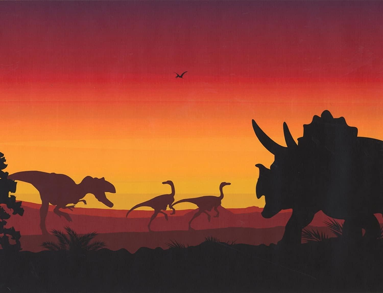 Prehistory Dawn Dinosaurs Pterodactyls Extra Wide Wallpaper Border Retro Design, Roll 15' x 12