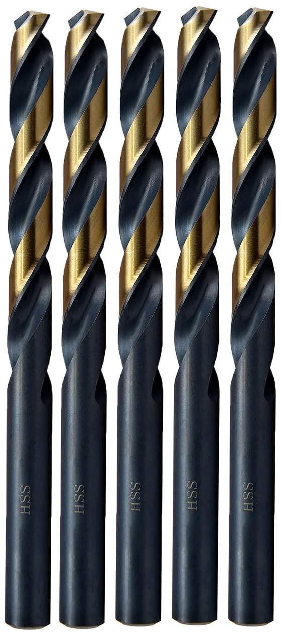 MAXTOOL 5.0mm Metric 5pcs Jobber Length Twist Drill Bits HSS M2 Fully Ground; JBM02H10R050P5