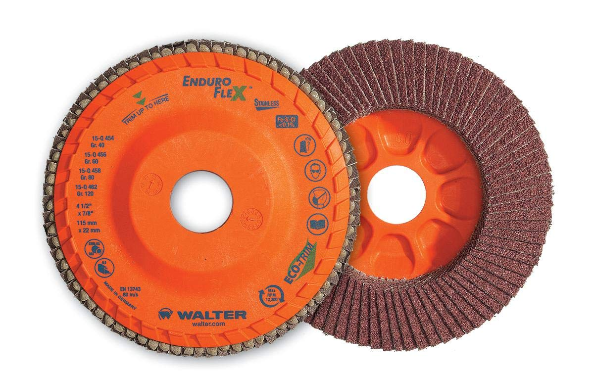 Walter 06F458 ENDURO-FLEX Abrasive Flap Disc [Pack of 10] - 80 Grit, 4-1/2 in. Grinding Disc with ECO-TRIM Backing. Surface Finishing Discs
