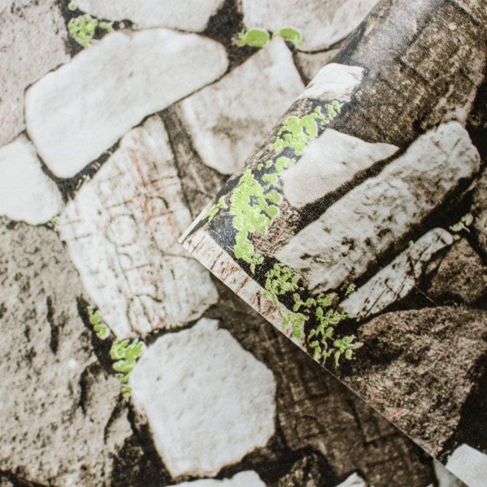 3D Wallpaper Stone Paper Stone Textured Wallpaper Peel & Stick Self-Adhesive Wallpaper Vintage Gray White Gravel Rock Stone Wallpaper Printing Paper for Wall Decor Film Roll