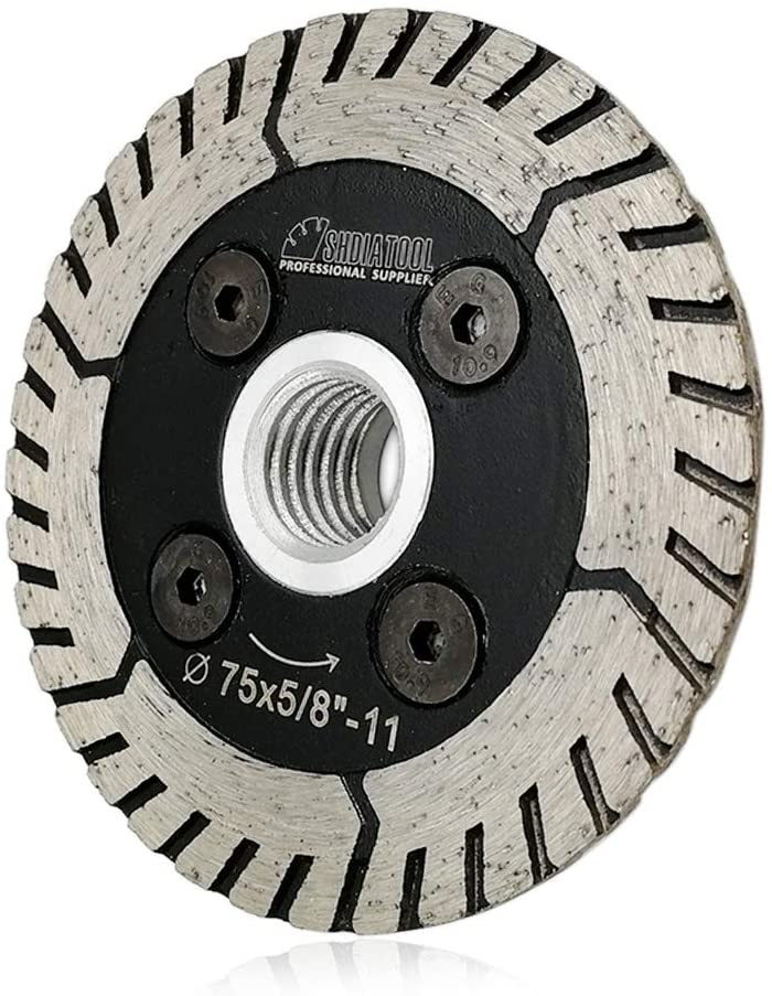 SHDIATOOL 3 Inch Granite Turbo Cutting Blades Two-In-One Design Cut Grind Sharpen Marble Concrete and Bricks