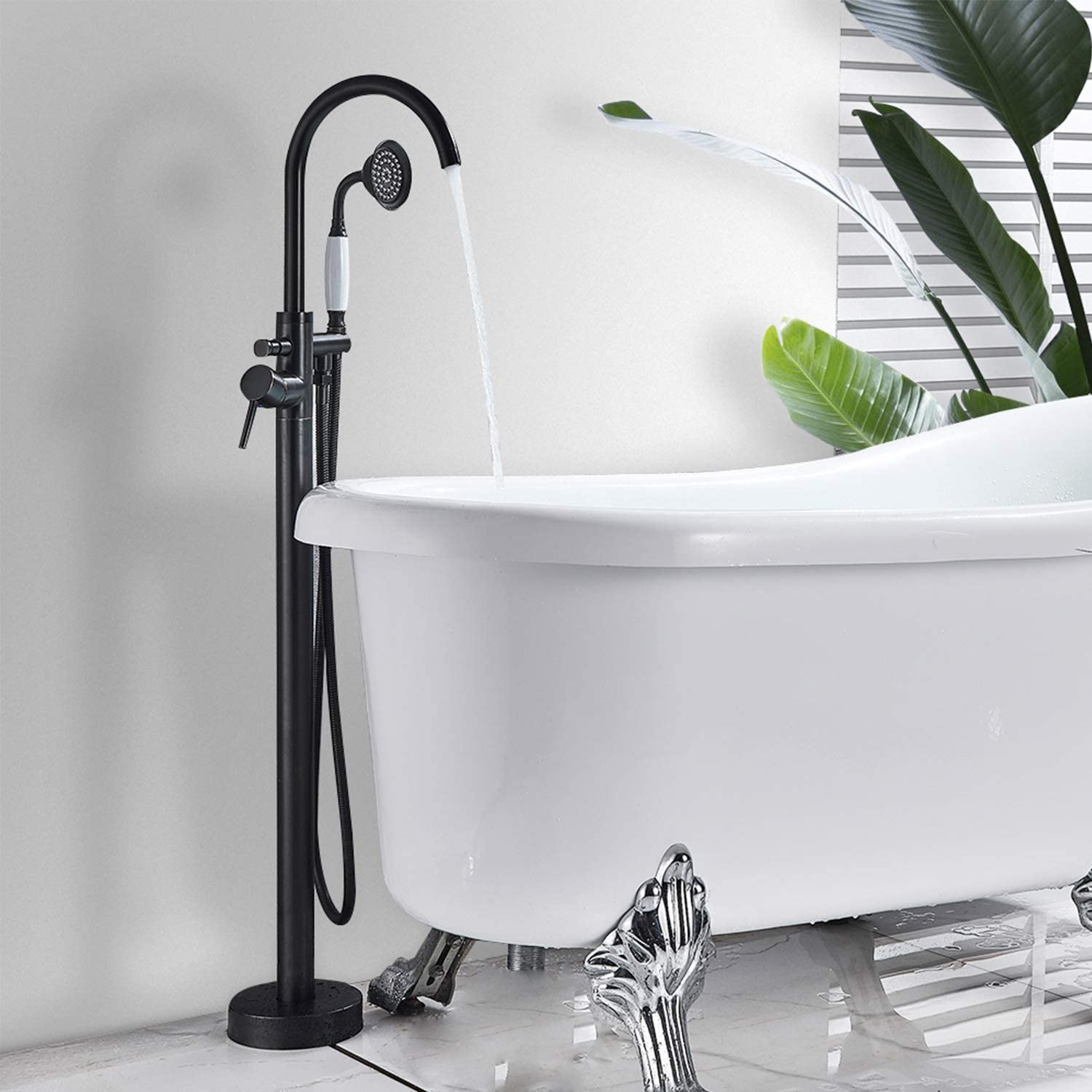 Zovajonia Floor Mount Bathroom Tub Filler Shower Faucet Set Single Handle Oil Rubbed Bronze Shower Tap with Hand Sprayer