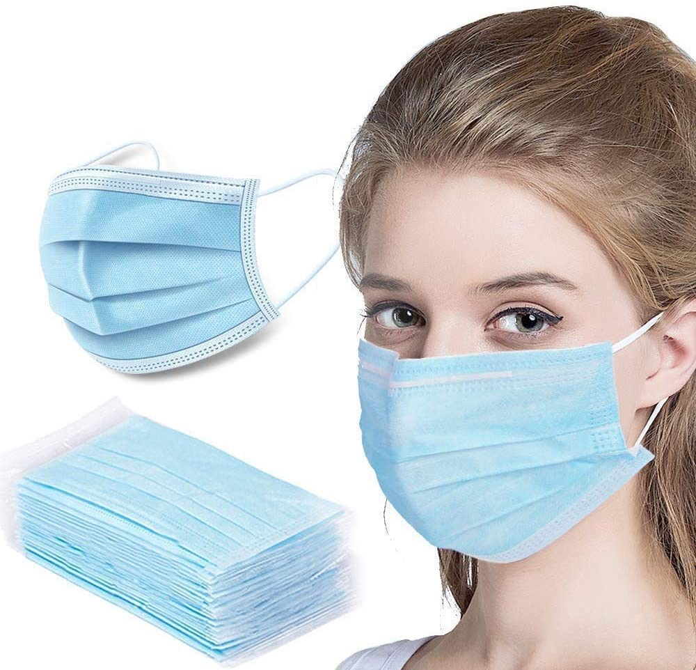 50 Pack Disposable Mask Safety Face Mask, 3-Layer Breathable Facial Masks with Adjustable Ear Loop, Mouth and Nose Protection Dust Masks