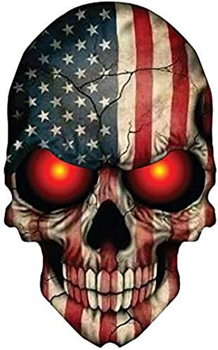 2 Pieces Set Skull Stickers American Flag USA Decals, Motorcycle, Biker, Cool Sticker - 4 inches