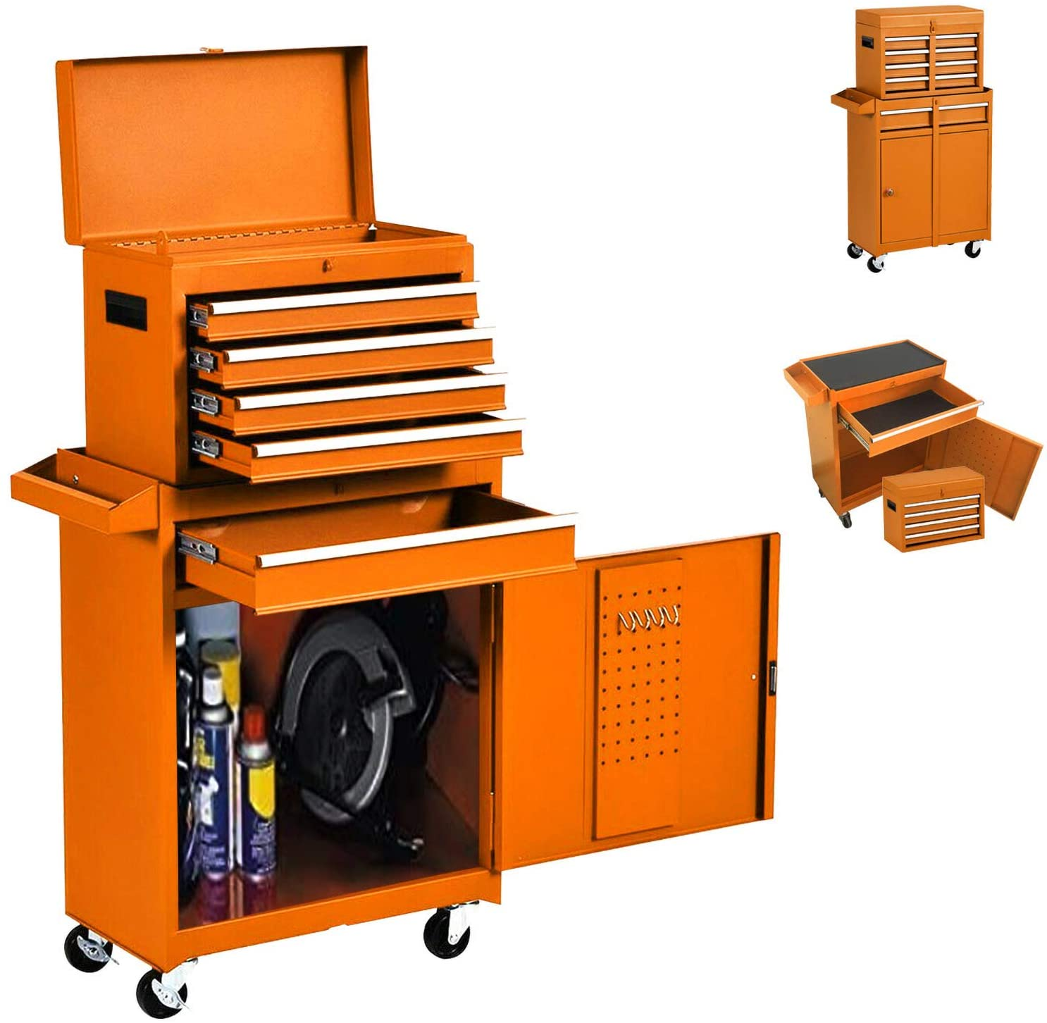 Large Tool Chest,Rolling Tool Chest, Tool Chest with Wheels, Large Capacity Tool Cabinet with 5 Drawers, Tool Box Locks with Keys and Garage Storage (Orange)