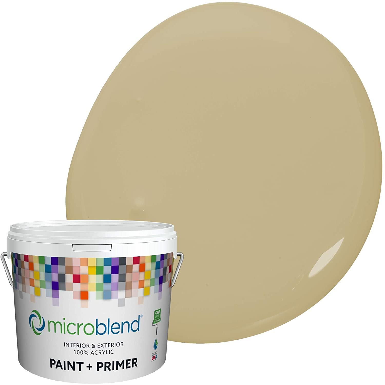 Microblend Exterior Paint and Primer - Beige/Safari Dust, Flat Sheen, 1-Gallon, Premium Quality, One Coat Hide, Low VOC, Washable, Microblend Greens Family