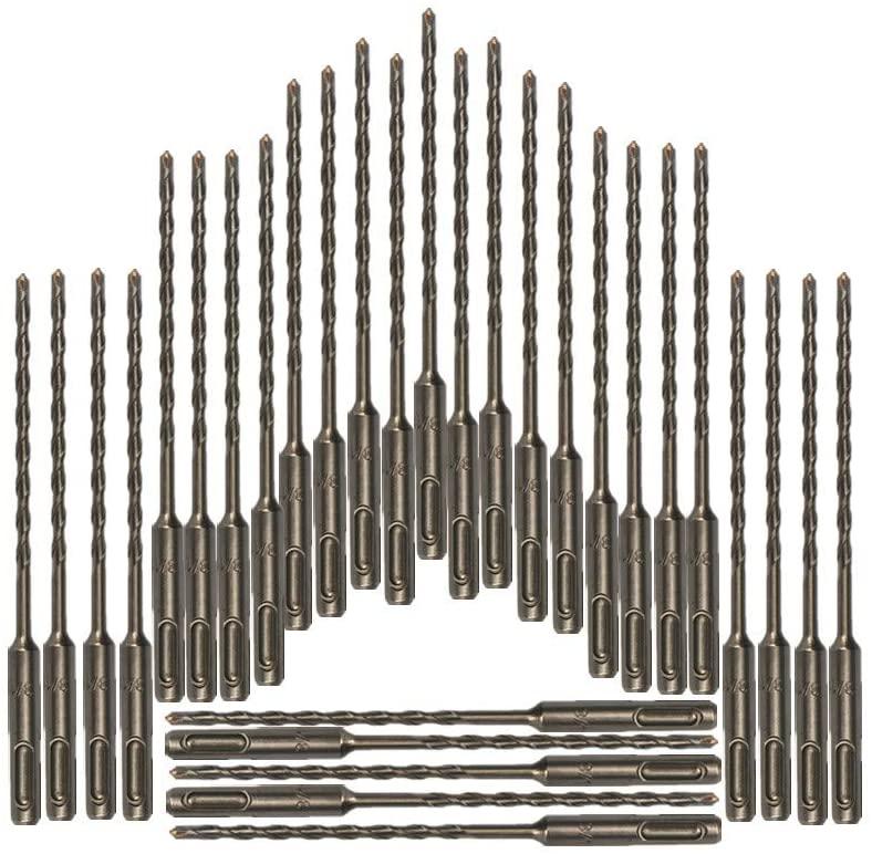 30PC, Rotary Drill Bit,SDS Plus Bits, 3/16, 1/4, 5/16, 3/8, 7/16, 1/2, Masonry drill bit set, SDS+ Hammer Bits (3/16