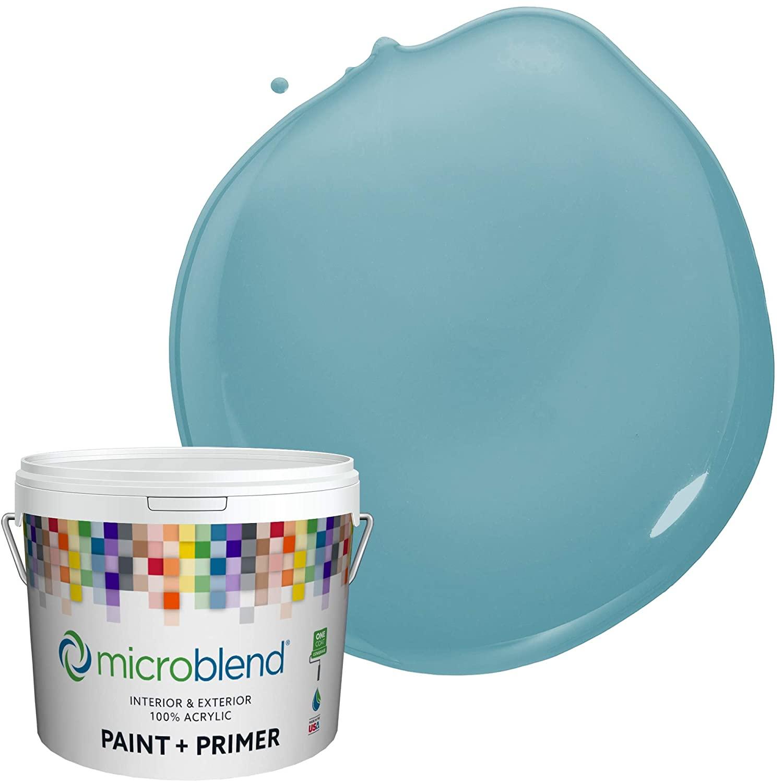 Microblend Interior Paint and Primer - Aqua/Katarina, Flat Sheen, 5-Gallon, Premium Quality, One Coat Hide, Low VOC, Washable, Microblend Niagara Collection
