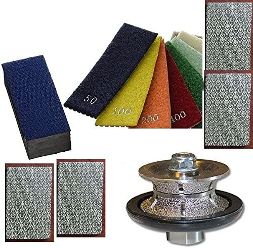 Diamond Hand Polishing Pads, 4 Assorted Coarse Grits 3/4