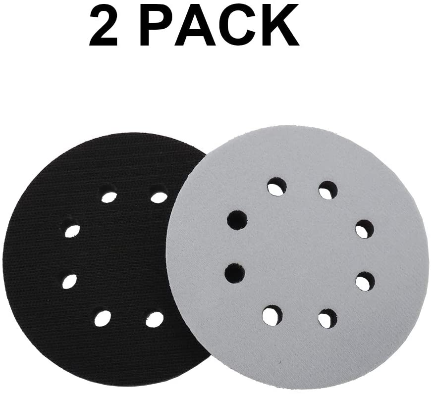 JLENOVEG 5-Inch 8 Holes Hook and Loop Buffer Pad Sanding Disc Backing Pads for Polishing and Sanding Machines (2)