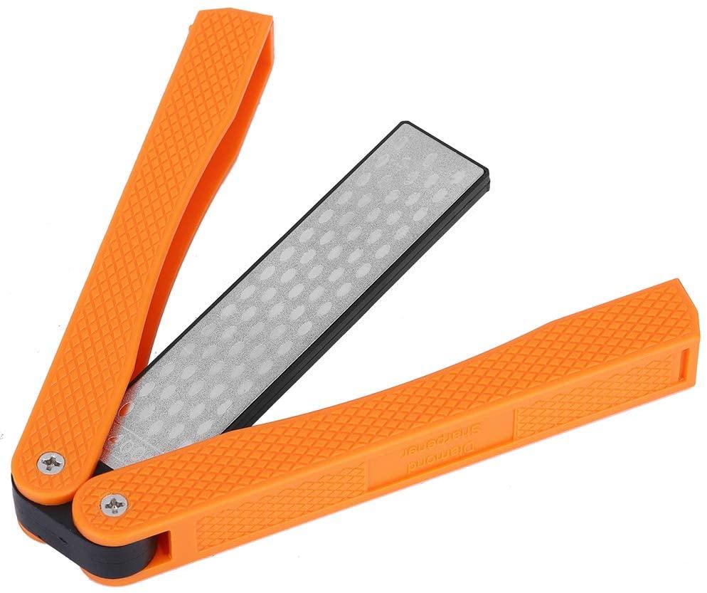 Double Sided Knife Sharpener, Preventing from Damage Folding Structure Diamond Knife Sharpener, Home Garden Kitchen Necessity Agricultural(New Orange)