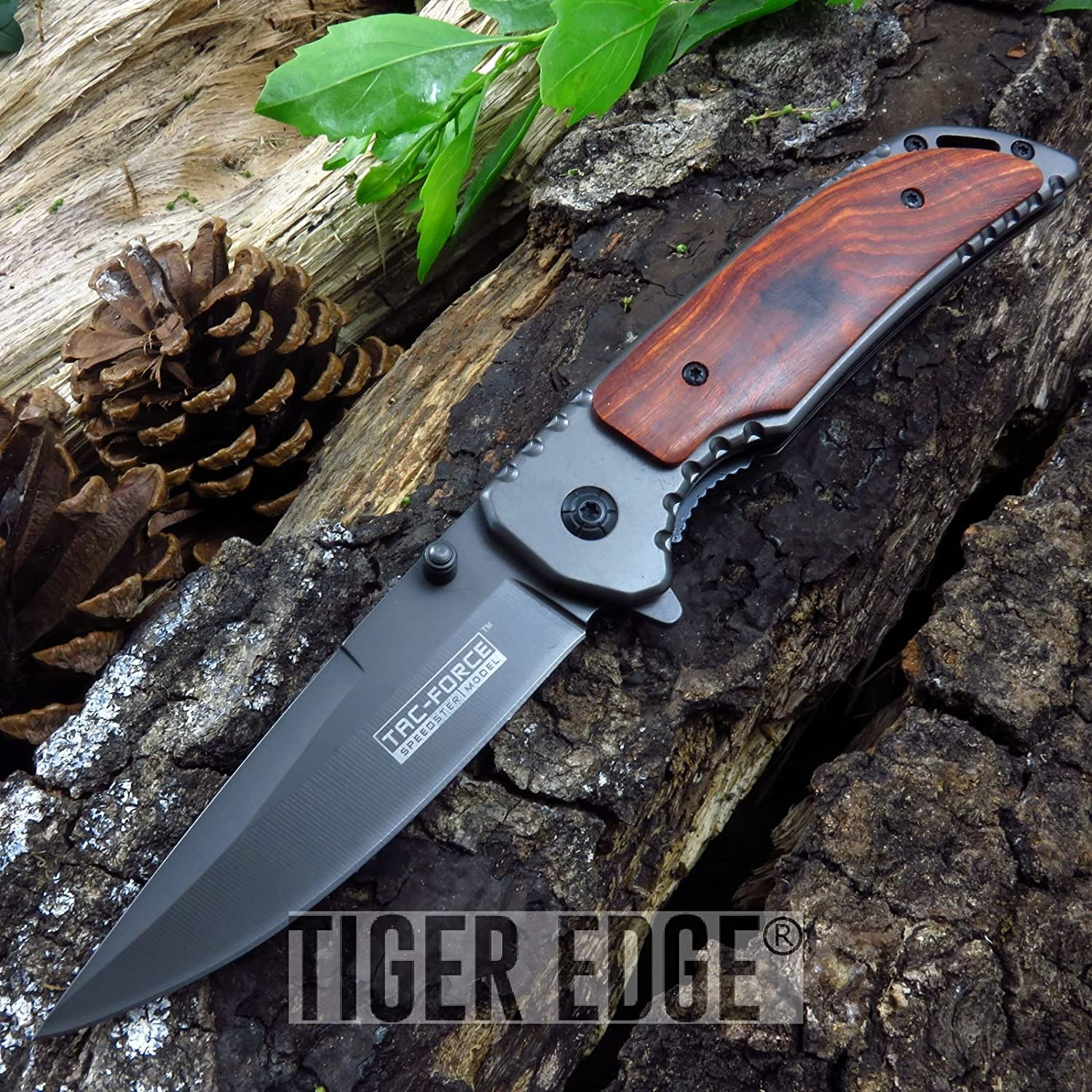 New! Tac-Force Wood Handle Ti-Coated Cool ProTactical Limited Edition Elite EDC Folding Pocket Knife