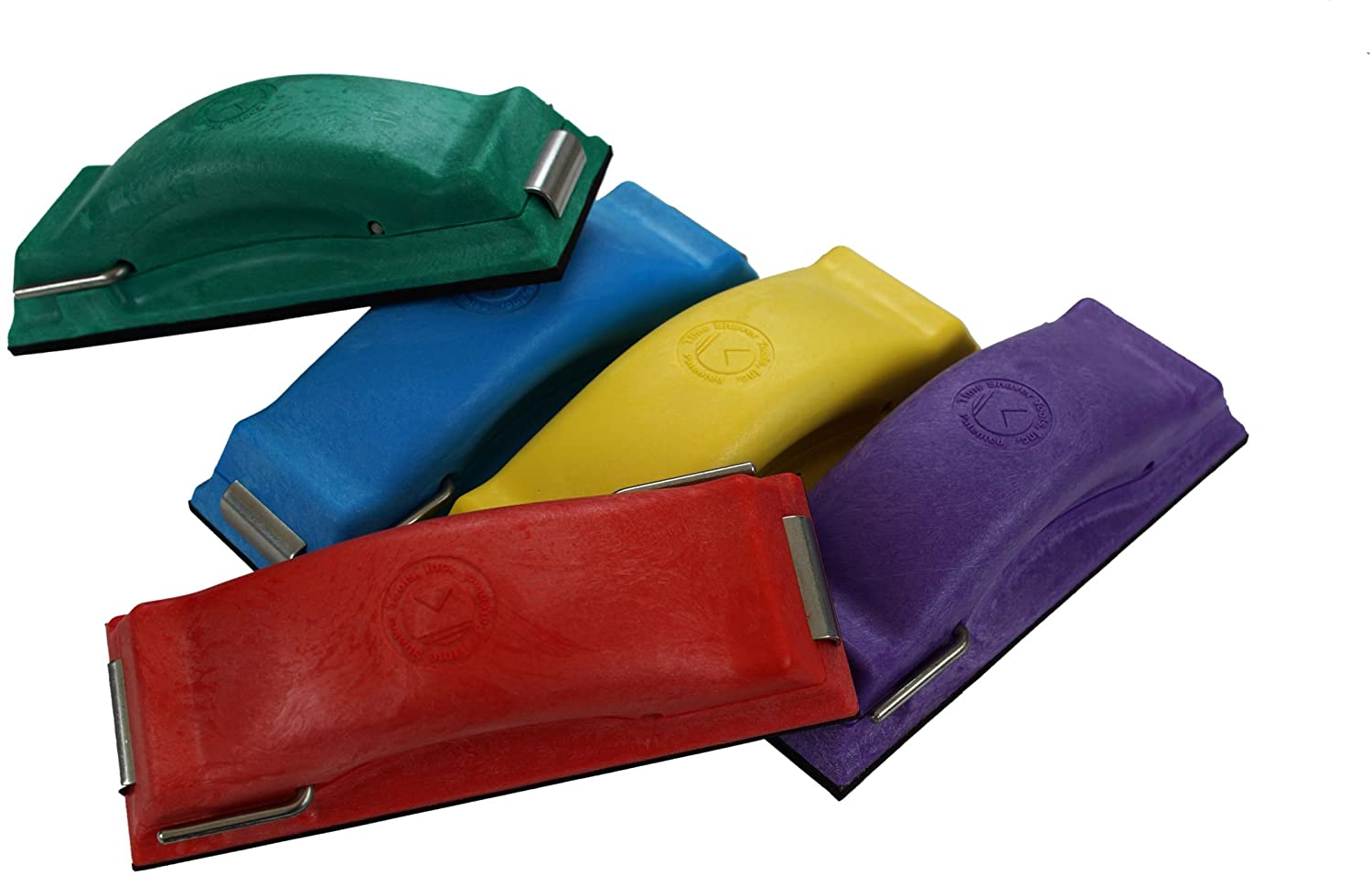 Time Shaver Tools Preppin' Weapon Ergonomic Sanding Block, for Wet and Dry Sanding. Easy to Load, Plain Paper Sander. Complete Set of 5 Color Coded Hand Sanders in Yellow, Blue, Green, Purple and Red.