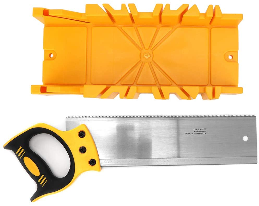 iFCOW Woodworking Saw Set 12 inch ABS Plastic Multiple Angle Clamping Mitre Box with 14 inch Back Saw