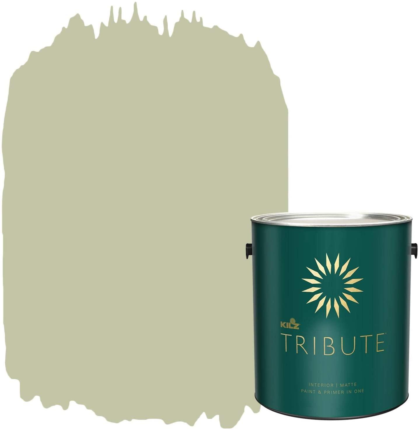 KILZ TRIBUTE Interior Matte Paint and Primer in One, 1 Gallon, Subtle Celery (TB-74)