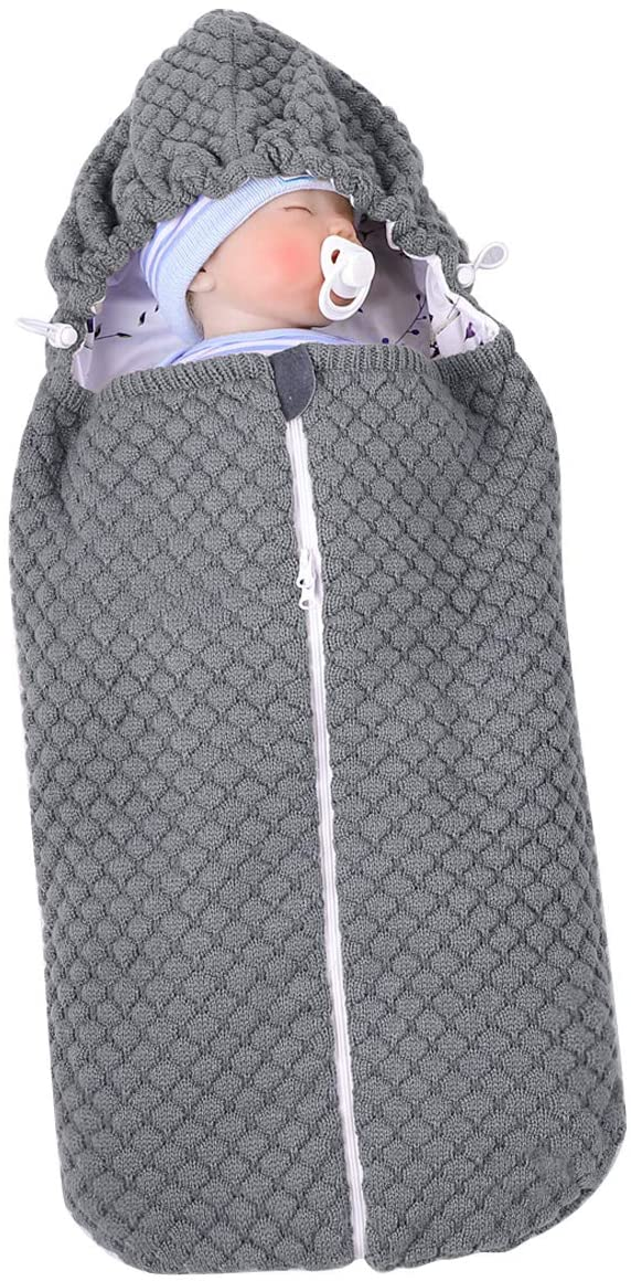 Wallfire Baby Knit Sleep Sack Newborn Infant Swaddle Blanket Stroller Wrap, Toddler Warm Sleeping Bag for 0-6 Months Babies