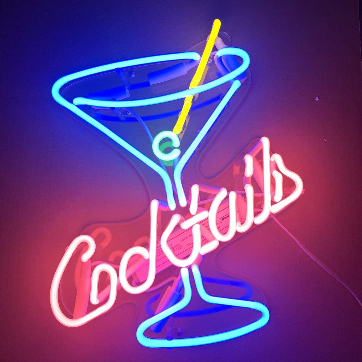 Neon Signs Cocktails Beer Bar Bedroom Home Neon Light Handmade Glass Neon Lights Sign for Bedroom Office Hotel Pub Cafe Recreation Room Wall Decor Night Light