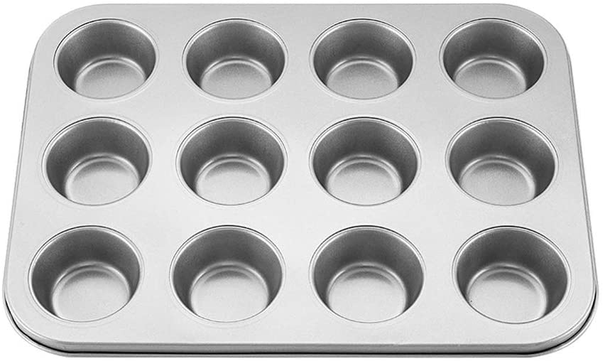 Muffin Tray Non-Stick Mince Pie Kitchen&Dining Carbon Steel Cake Pan Muffin Tray Egg Tart Mold Baking Tray(silver)