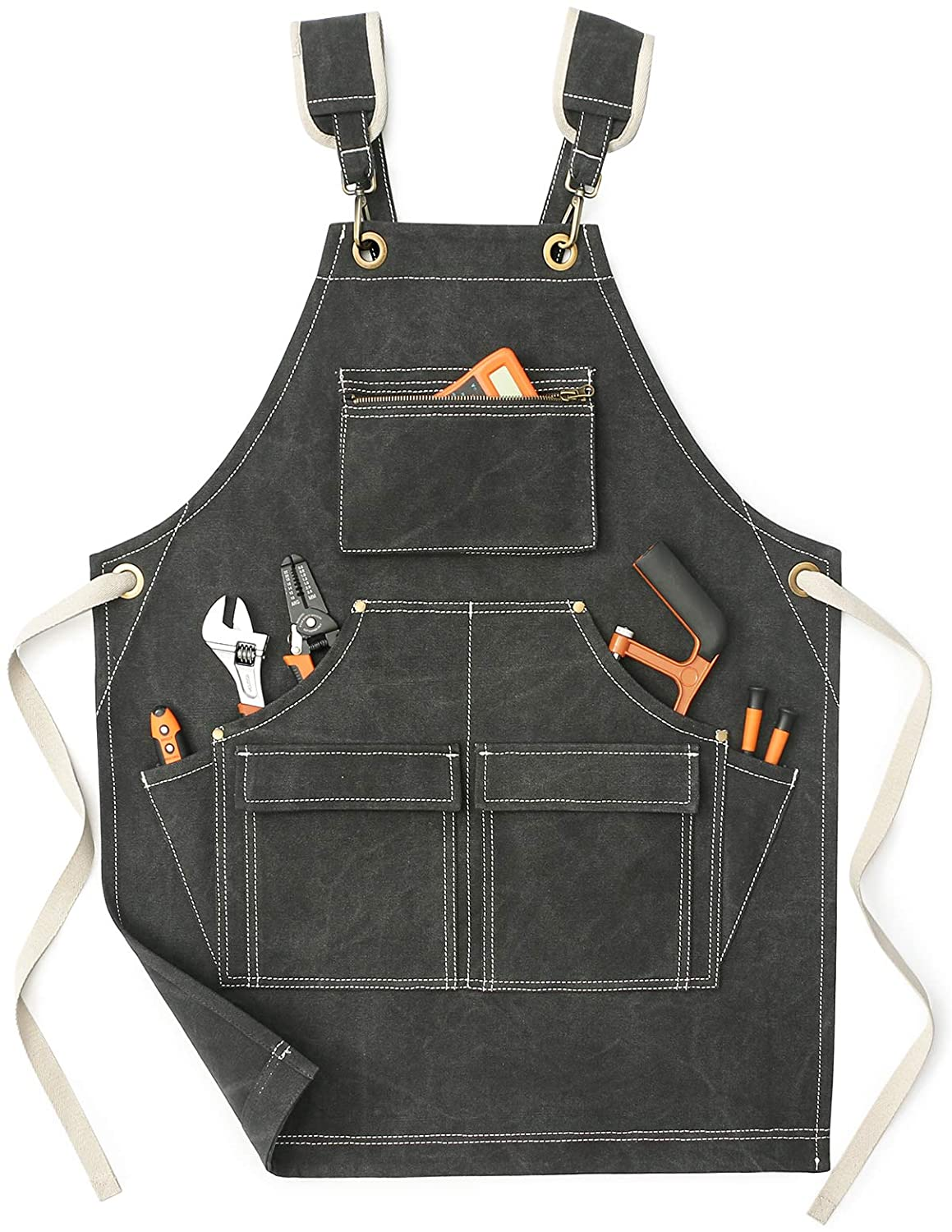 Jeanerlor - Waterproof Special Washing Style Canvas Men's Woodworking Work Apron with Pockets for Eork(Dark Grey)