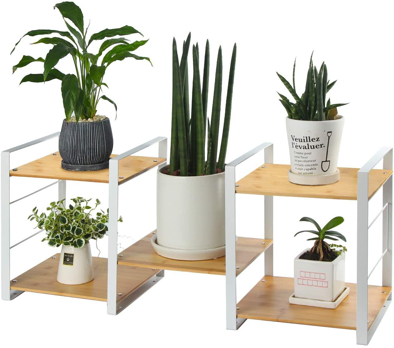 J JACKCUBE DESIGN - Multi Tier Bamboo Plant Stand Planter Rack Adjustable Flower Succulent Shelving Unit Stylish Indoor & Outdoor Garden Patio Pots Holder Display (White)- MK506B