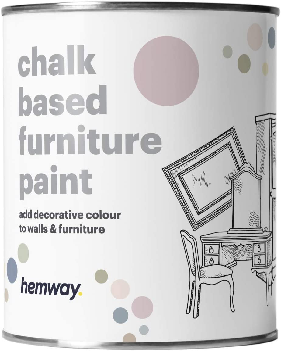 Hemway Chalk Based Furniture Paint Matt Finish Wall and Upcycle DIY Home Improvement 1L / 35oz Shabby Chic Vintage Chalky (14 Colours Available) - Candy Floss
