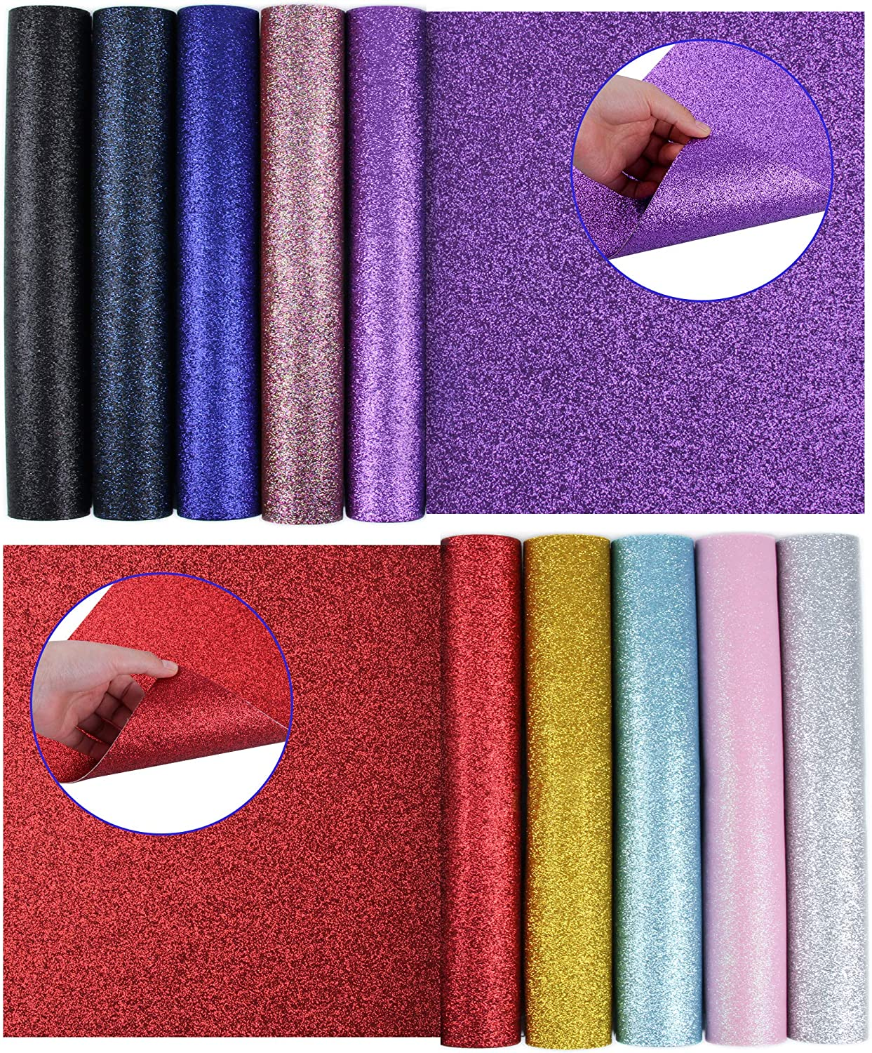 Zobidobi Upgrade 10PCS Double-Sided Faux Leather Sheets for DIY Craft, Glitter Leather Fabric for Earring Making, Hair Bows, Pouches, Sewing Material and Festival Decor (12.6''x8.6'')