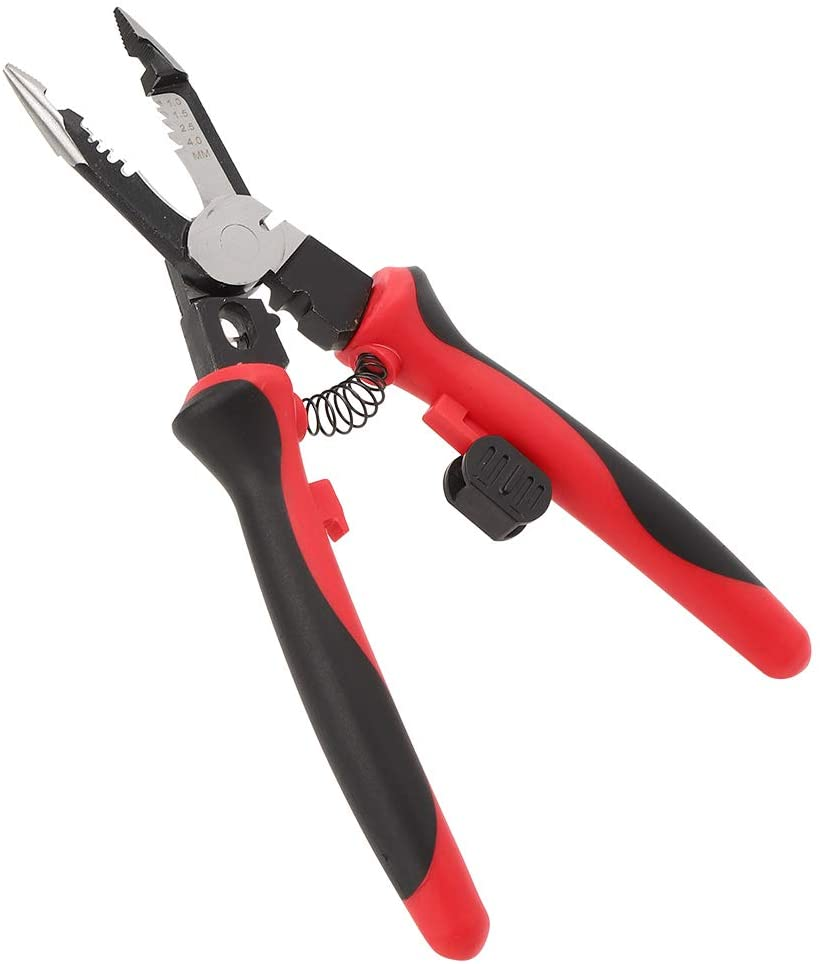 6 in 1 Wire Stripper Tool Multi‑Functional Crimping Pliers Steel Wire Cutter for Stripping Breaking Clamping Cutting