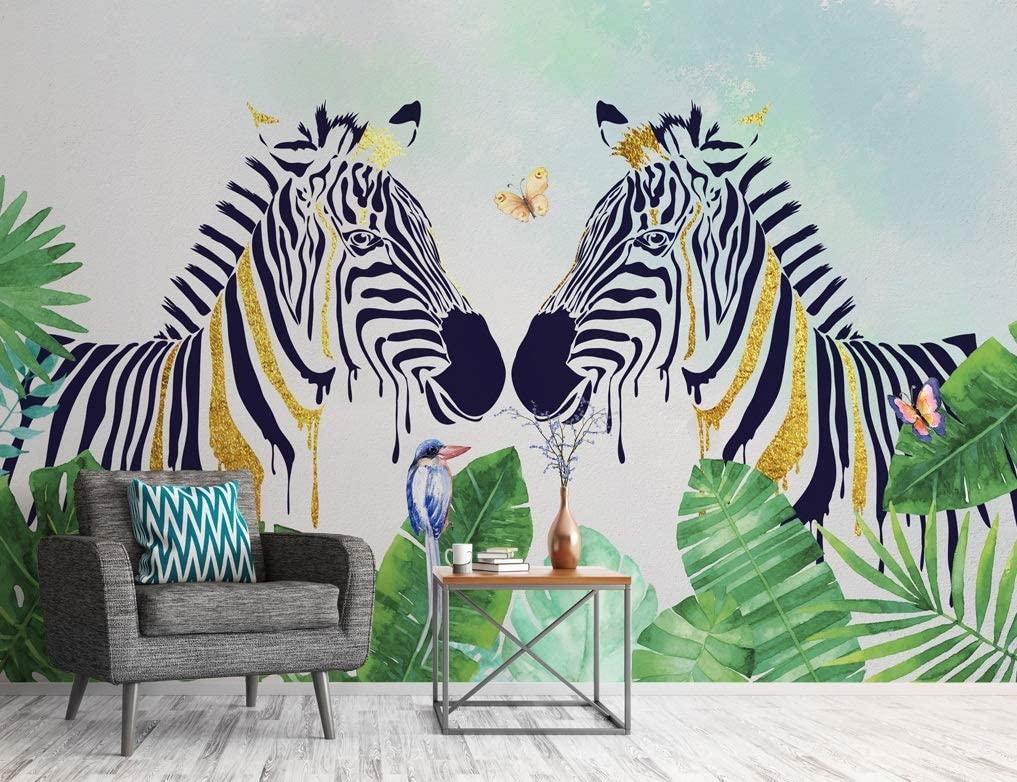 "3D Zebra 424 Wall Paper Print Decal Deco Wall Mural Self-Adhesive Wallpaper AJ US Lv (Vinyl (No Glue & Removable), 【164""x100""】 416x254cm(WxH))"