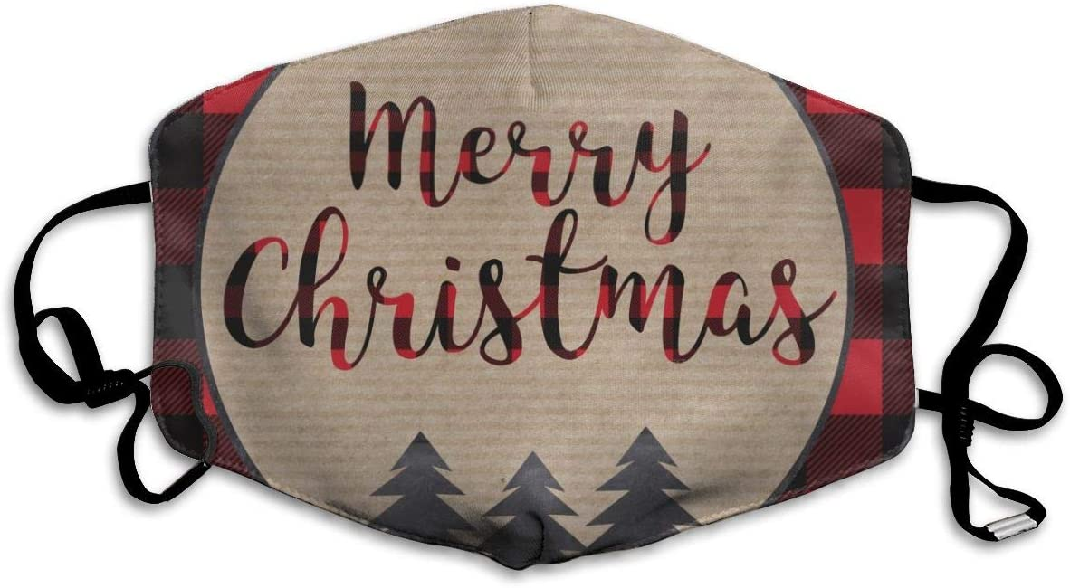 Comfortable Adjustable Merry Christmas Black And Red Buffalo Plaid Tree Printed Facial Decorations For Women And Men
