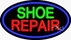 Shoe Repair Flashing Neon Sign - 17 x 30 x 2 inches - Made in USA