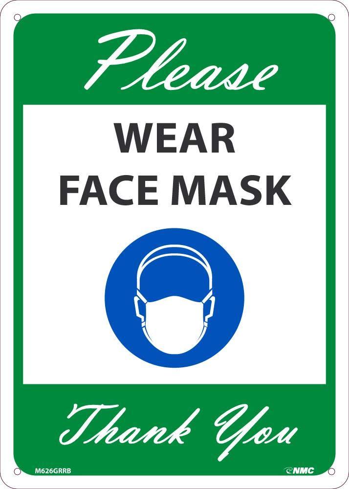 NMC M626GRRB Please Wear Face Mask Thank You, Sign, Green, Green, 10 x 0.05 x 14, Rigid Plastic