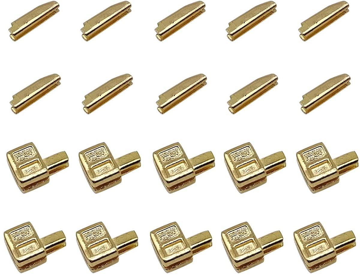 30 Sets #5 Metal Zipper Latch Slider Retainer Insertion Pin Zipper Bottom Zipper Stopper for Metal Zipper Repair (Gold)