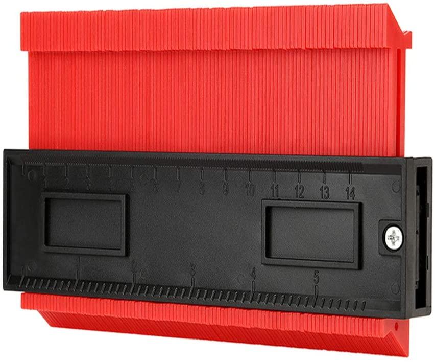 Fosheng Contour Gauge Duplicator 6 Inch Widen Copy Irregular Shape Profile Gauge for Winding Pipes Circular Frames Wood Marking Tool, Red