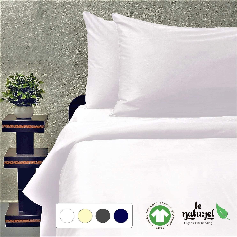 Le Naturel Organic Cotton Duvet Cover Queen - Full Duvet Cover -White Duvet Cover - 300 Thread Count Duvet Cover - Organic Comforter Cover - Sateen Weave Duvet Cover -GOTS Certified Duvet Cover