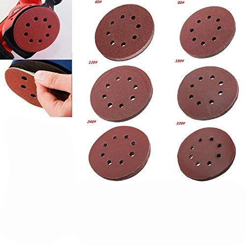 Sopeace 60 pieces Dustless Sander Sandpaper 5 inch/12.5 cm 8 holes Orbit Sanding Discs for Drywall Sander Hook Loop Assorted 60/80/120/180/240/320 Grits each 10 pieces