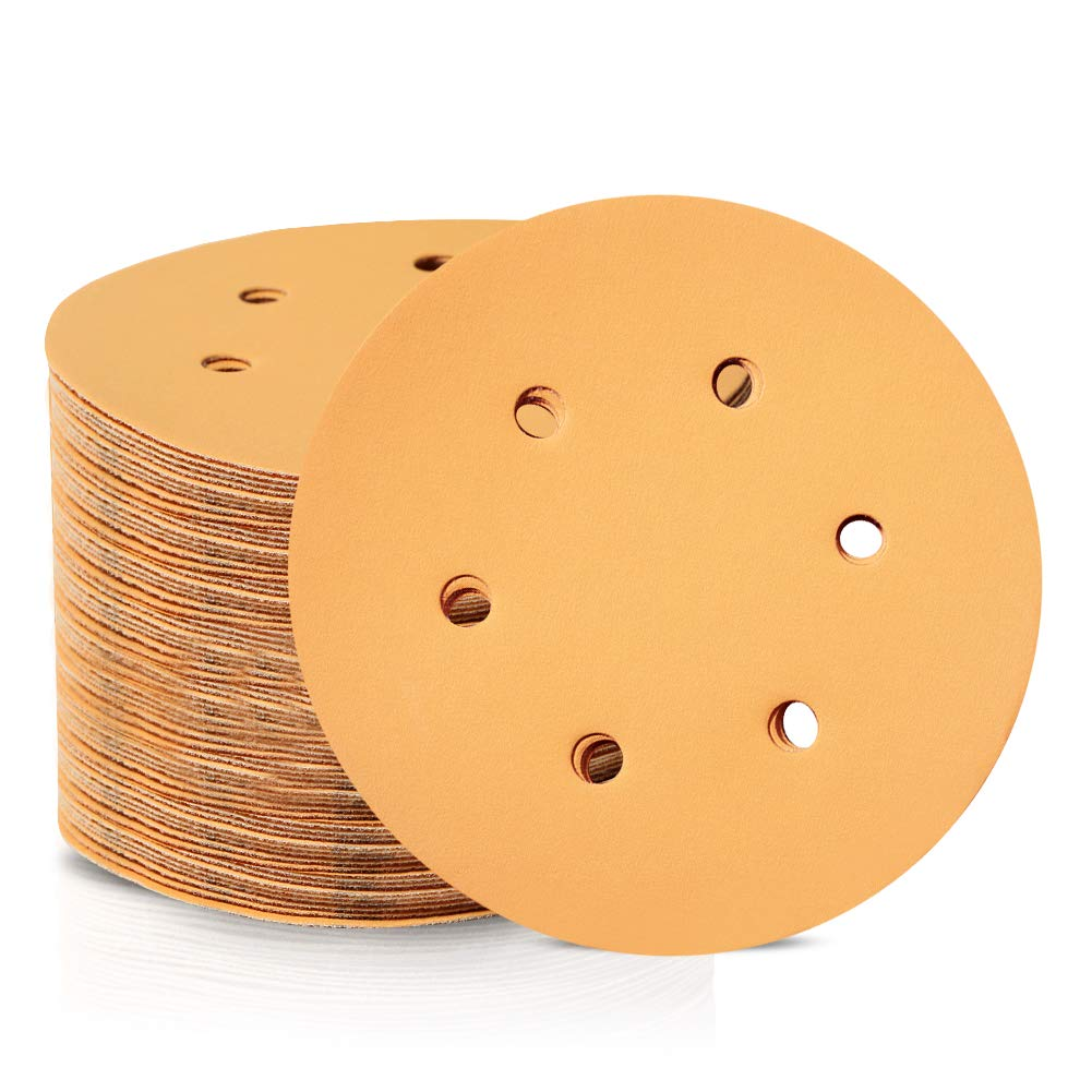 SPEEDWOX 100 Pcs 6 Inches Hook and Loop 6 Hole Sanding Discs 600 Grit Dustless Sandpaper Fit for Random Orbital Sander Yellow Finishing Discs for Automotive Woodworking