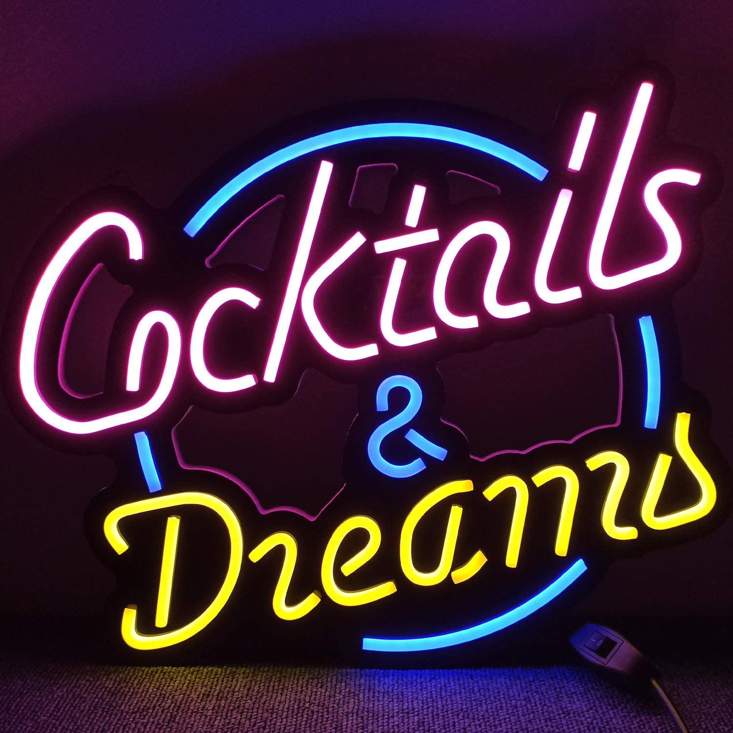 Cocktails & Dreams LED Neon Light Signs for Beer Bar Club Bedroom Office Hotel Pub Cafe Wedding Birthday Party Man Cave Art Wall