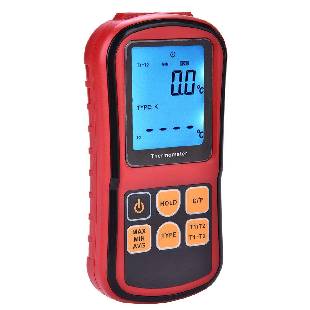 Thermometer, GM1312 Temperature Meter Digital Dual-Channel LCD Display Temperature Tester for Liquid/Vapors and Surface of Solid Object