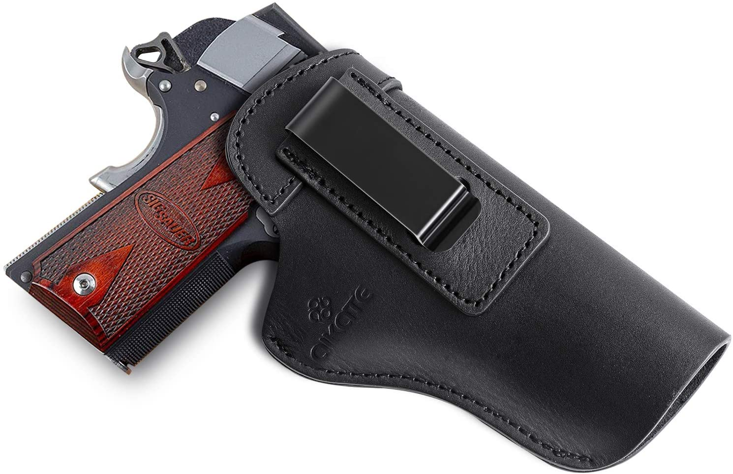 1911 Leather Holster, Inside The Waist Band IWB Holsters, Fits Most 1911 Style Handguns Sig Sauer Springfield Armory Kimber Colt Smith and Wesson S&W Remington Taurus 1911 Pistols Series