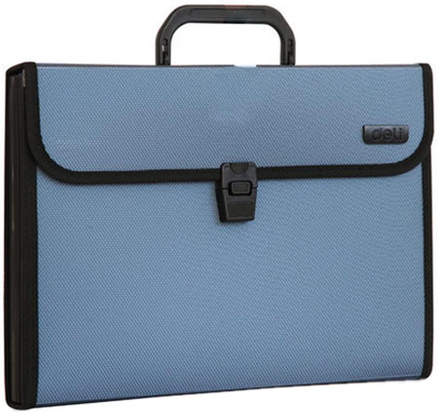Elegant 12 Pockets Expanding File Folder with Handle Briefcase, Blue