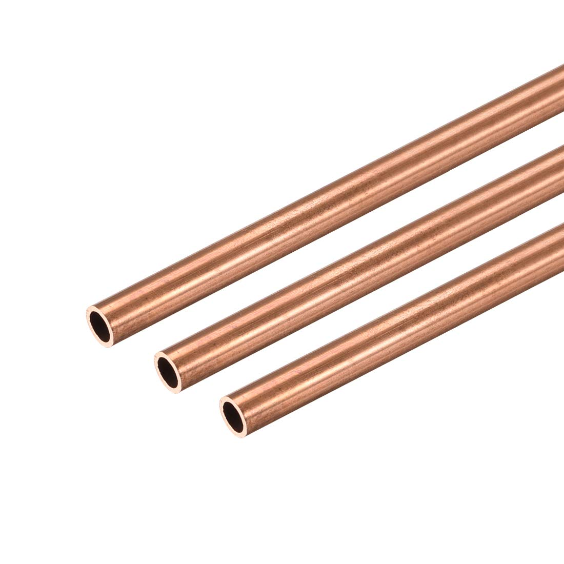 uxcell Copper Round Tube, 4mm OD 0.5mm Wall Thickness 300mm Long Straight Pipe Tubing 3 Pcs