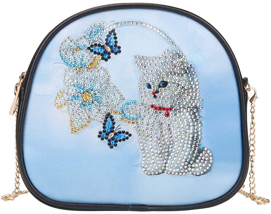 DIY 5D Diamond Painting Crossbody, Cat Pattern, Special Shaped Drill Cross Stitch Leather Shoulder Bag Handbag Purse Tote Storage Bag for Girl Women Art Craft Decor