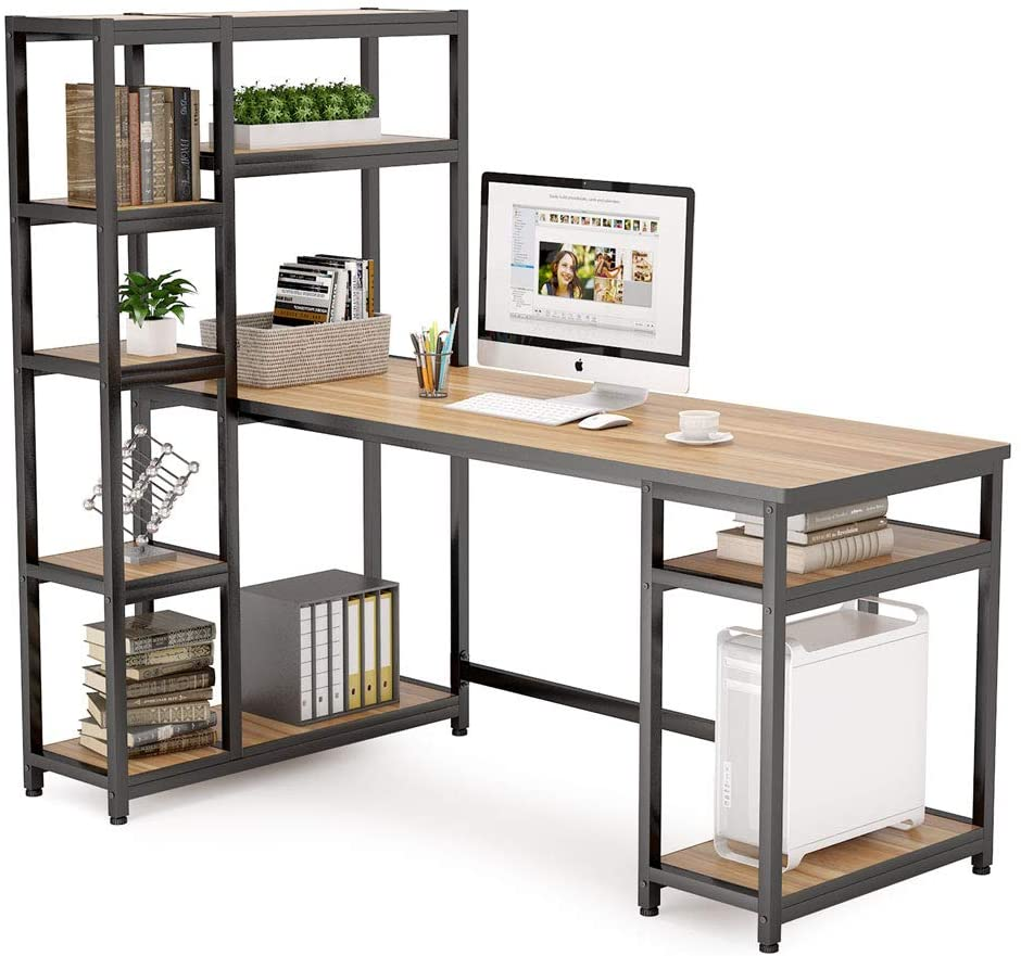 Tribesigns Reversible Computer Office Desk with 9-Tier Storage Shelves, 67 inch Large PC Laptop Study Writing Table Workstation with Hutch Bookshelf and CPU Stand for Home Office (Oak)